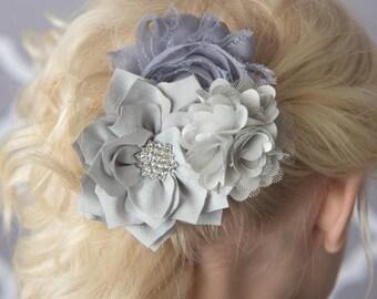 Silver hair clip, grey Hair accessory, gray hair clip, silver wedding flower, bridal hair clip, girl hair accessories, girl birthday gift