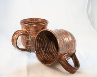 Two Brown Variegated Mugs