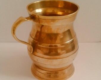 Vintage Solid Brass Mug Stein Tankard