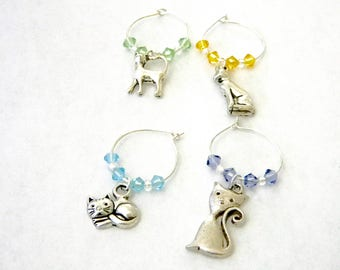 Cat Wine Charms Set of Four