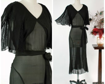 Vintage 1930s Dress - Exquisite Sheer Black Chiffon Frock with Fluttering Attached Scalloped Lace Cape & Wrap Style Sash
