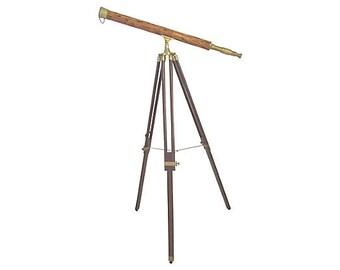 Brass & Inlaid Bamboo Tripod Telescope