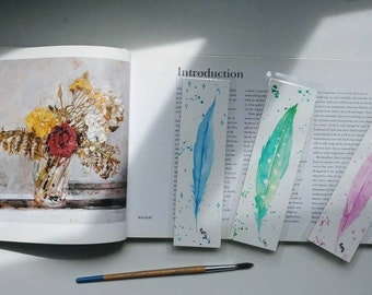 Mystical Feather - Watercolor Bookmark