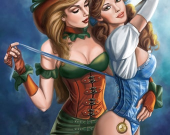 8x10 Signed Steampunk Wizard of Oz Dorthy and Ms Scarecrow Print
