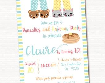 Pancakes and Pajamas Party Invitation, Pancakes Birthday Invitations, Pajama Party, Sleepover Pancakes Invitation, PRINTABLE
