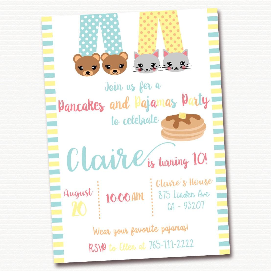Pancakes and Pajamas Party Invitation Pancakes Birthday