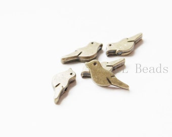 40pcs Antique Brass Tone Base Metal Spacer - Bird 15x6mm (14771Y-D-413)