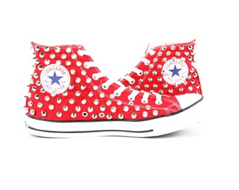 Original Converse AllStar Chuck Taylor high top studded  Converse stud sliver spike on RED Shoes