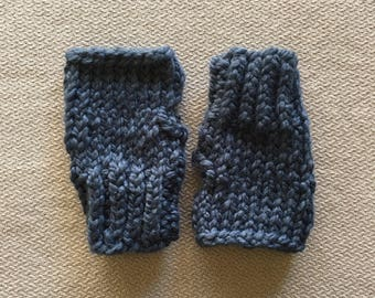 Fingerless glove wristwarmer - chunky knit denim blue glove