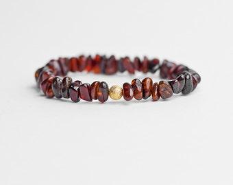 Burgundy bracelet, amber bracelet