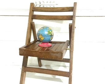 Vintage Child Chair Wood Slatted Folding Chair