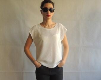 Vintage White Floral Design Semi Sheer Short Sleeve Blouse