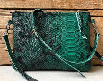 Python Patterned Leather Cross body