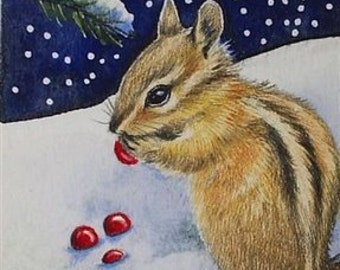 Winter Chipmunk Miniature Art by Melody Lea Lamb ACEO Print