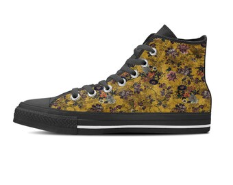 Hi top Sneakers, Custom converse style sneakers, Black sole sneakers, Women tennis shoes, Sneakers shoes, Floral print shoes, Gift for her