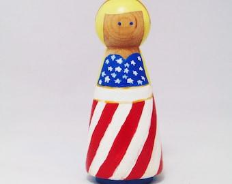 American Peg Princess,  natural peg toy, Peg people America, US peg person, American Peg doll, Peg doll, Peg people