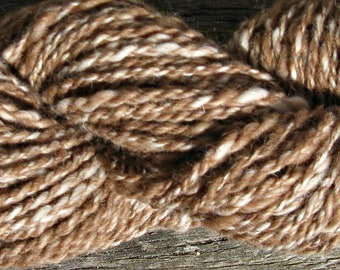 Alpaca Yarn for Knitting, Crochet, and Weaving, Brown and White, Bulky Yarn, 100 yards