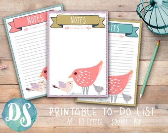 Printable Note Paper - Cute Girly, Bird Theme - PDF, A4, Letter, List, No Lines, with lines Printable Note Pages