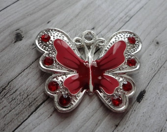 Large butterfly, silver, enameled, 29.5x34.5 mm, red, unity charm