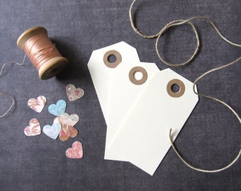 Cream Tags, Kraft Reinforced Holes, Gift Tags, Party Favor Tags, Weddings, Showers, Rustic, Set of 20