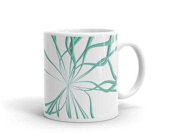 Wild Teal Lines Mug, Modern Mug, Coffee Mug, Coffee Cup