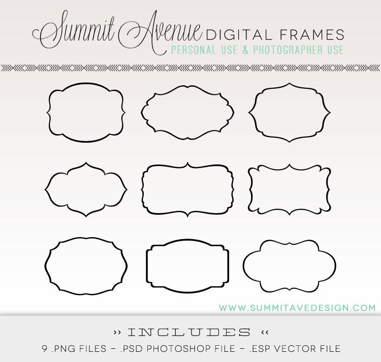 Digital Frames & Etiketten digitale ClipArt für Fotografie