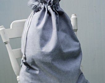 Laundry Bag Drawstring -- Gray Linen
