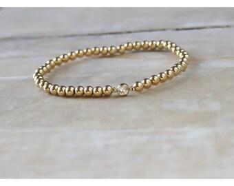 gold bracelet • gold ball bracelet • beaded bracelet • shiny round beads bracelet • 14K gold filled bracelet • gold stackable bracelet B035