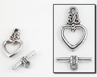 20mm Antique Silver Pewter Heart Toggle Clasp #CLB078