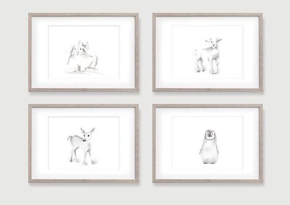 nursery animal art gender neutral baby art set of 4 prints