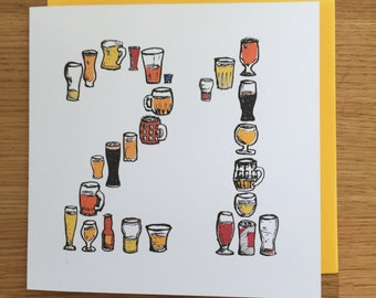 21 birthday card etsy 21 birthday card beer card male man twenty one 21st twenty firsts bookmarktalkfo Gallery