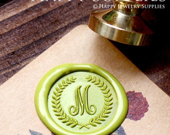 1pcs Personalized Initial Alphabet Gold Plated Wax Seal Stamp (WS142) / Custom Monogram Calligraphy Wedding Invitation Sealing Wax Stamp