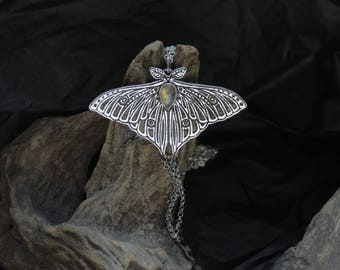 Luna Moth Necklace - Sterling Silver Butterfly Necklace - Silver Moth Pendant - Rainbow Moonstone Moth Pendant