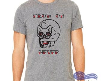 Cat lover Shirt, Tattoo Shirt, Skull shirt, Meow or Never Shirt, Illusion Shirt, Creative Men's Shirt, Illustrated T-Shirt, Funny Shirt