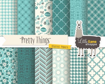 Turquoise Digital Paper, Turquoise Scrapbook Papers, Floral Quatrefoil Herringbone Houndstooth Digital Backgronds INSTANT DOWNLOAD