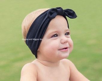 Top knot head wrap, black knot tie, navy blue headband, blue head wrap, infant headbands, baby head wrap, newborn head wrap, first birthday