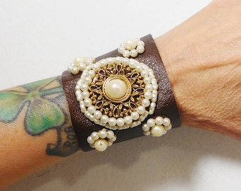 Wide Brown Leather Cuff Victorian Steampunk, Embellished, Pearl Beads, Aged, Bohemian Jewelry, Pearl Leather Cuff, Beaded