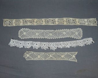 4 Pieces Vintage Handmade Lace, Edwardian Victorian, Crochet Cotton Lace Trims
