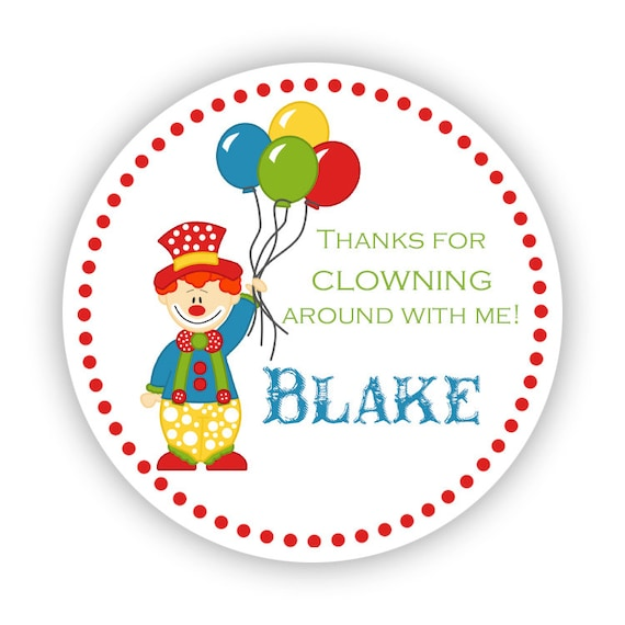 Clown stickers red polka dots clown birthday yellow green blue balloon circus clown personalized birthday party stickers round labels