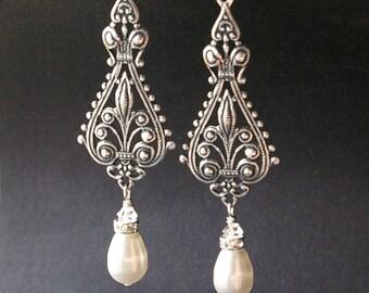 Vintage Bridal Earrings, Silver Filigree Earrings, Antiqued Silver Chandelier Earrings, Ivory White Pearl Chandelier Earrings, VIVIENNE