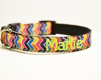 Personalized Dog Collar - Multi Color Chevron Dog Collar - Made to order