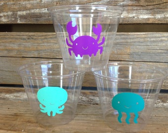 Under The Sea Party Cups - Mermaid Party, Beach Party, Birthday Party, Party Decorations