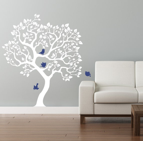 Items Similar To Modern Tree Wall Decal White Tree Wall