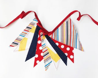 Boy Stripes Fabric Pennant Banner, Bunting, Garland - Red, White, Yellow, Orange, Blue - READY TO SHIP!