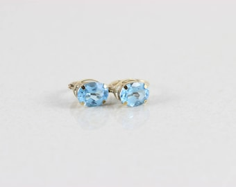 10k Yellow Gold Blue Topaz and Dangle Drop Earrings