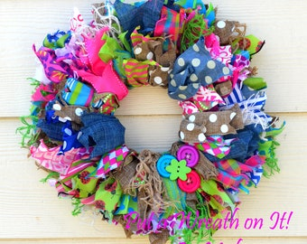 Shabby Chic Rag Style Ribbon Wreath with Buttons