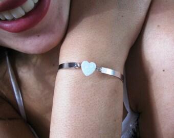 Heart bracelet, opal heart bracelet, gift for her, Christmas gift, wedding gift, gift for mom, love bracelet, tiny heart bracelet
