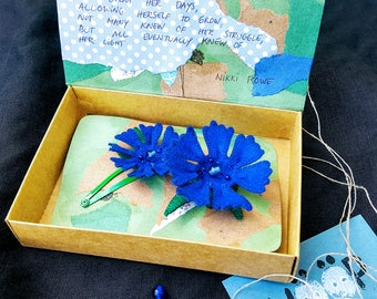 Matching mother daughter cornflower brooch and hairclip set