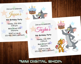 Tom and Jerry Birthday Invitation, Tom and Jerry Invite, Cartoon Invitation, Printable