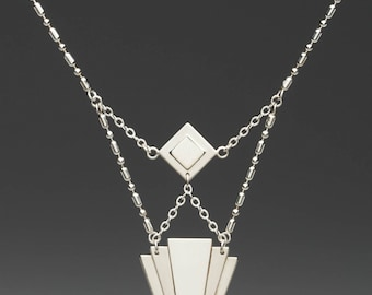 Sterling Silver Art Deco Necklace, silver necklace, sterling necklace, art deco style, handmade, wearable art